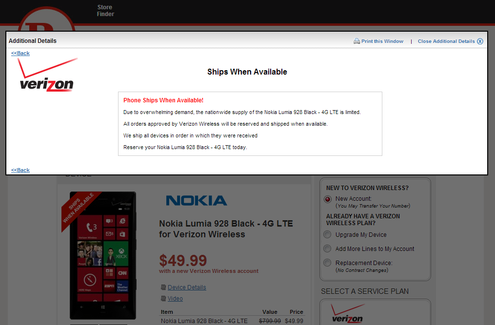 Nokia Lumia 928 sells out at RadioShack due to overwhelming demand