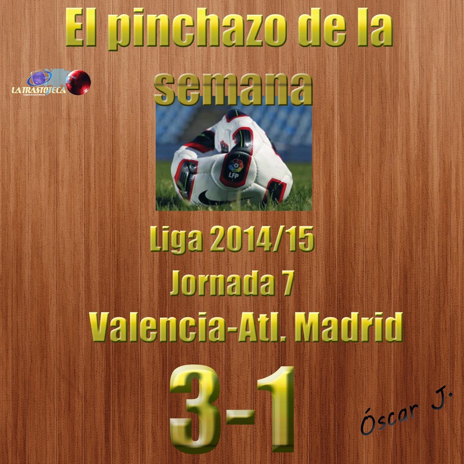Valencia 3-1 Atlético de Madrid. Liga 2014/15 - Jornada 7. El pinchazo de la semana.