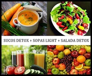 Sucos detox + sopas light + saladas detox