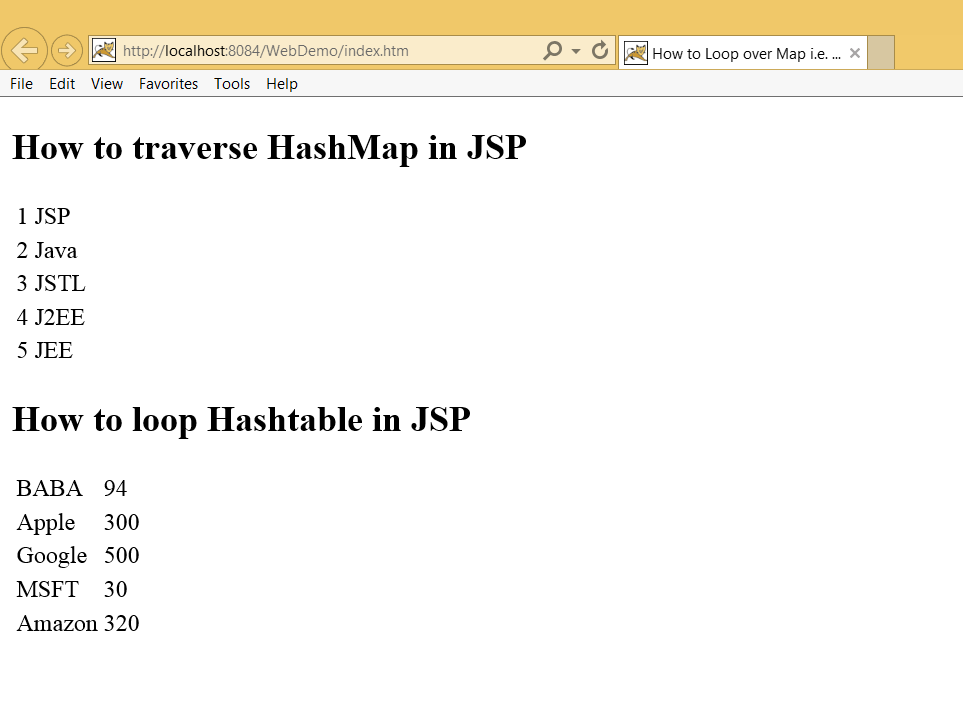 Everything About Programming: How to loop a HashMap or Hashtable in JSP
