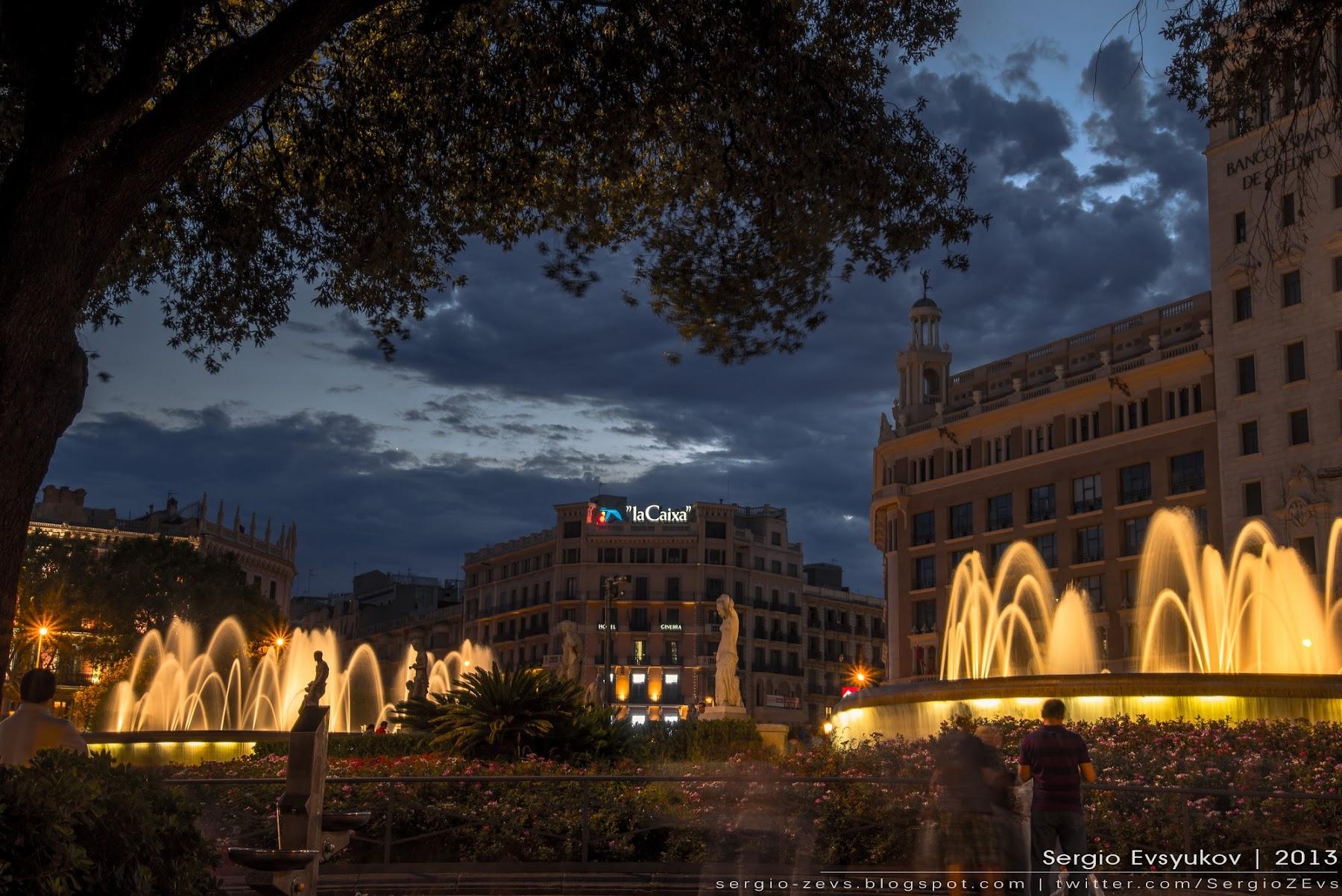 Ночные фотографии Барселоны