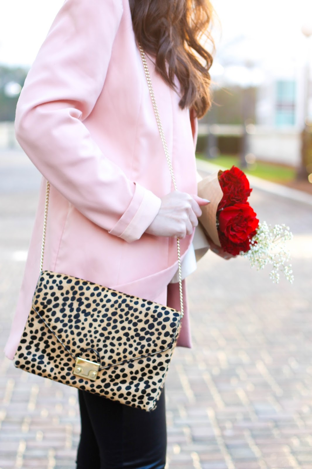 Rent the Runway clutch, Rent the Runway valentines outfit, Valentine's Day trends, Valentine's Day ideas, Valentine's Day outfit, date night look, pink blazer, faux leather leggings, Nordstrom leggings, leopard clutch, leopard crossbody bag, nude pumps, valentine's date night, pretty in the pines blog, fashion blogger, winter trends, winter fashion, winter outfit idea, Elliatt blush blazer,TY-LR cream rive gauche top,  cheetah printed lock clutch by Loeffler Randall