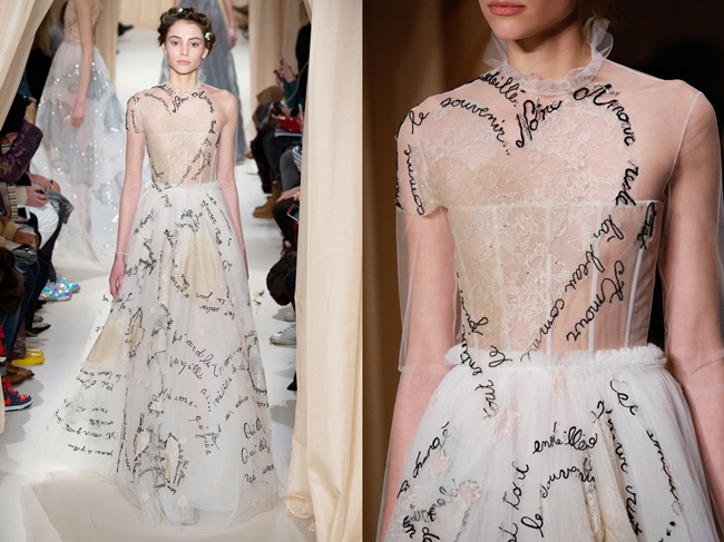 Valentino Couture Spring 2015 Love Words Dress on Runway