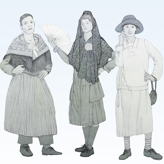 carnaval, travestis, años 20, Valencia, dibujo