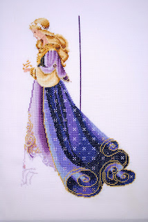Lavender & Lace L&L Celtic Spring lady cross stitch work in progress WIP