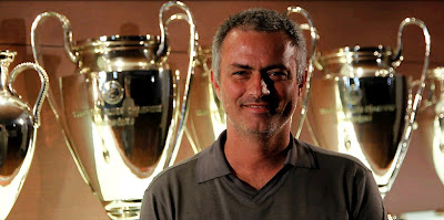 Jose Mourinho in the Real Madrid trophy room