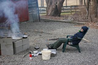 boy in front of fire
