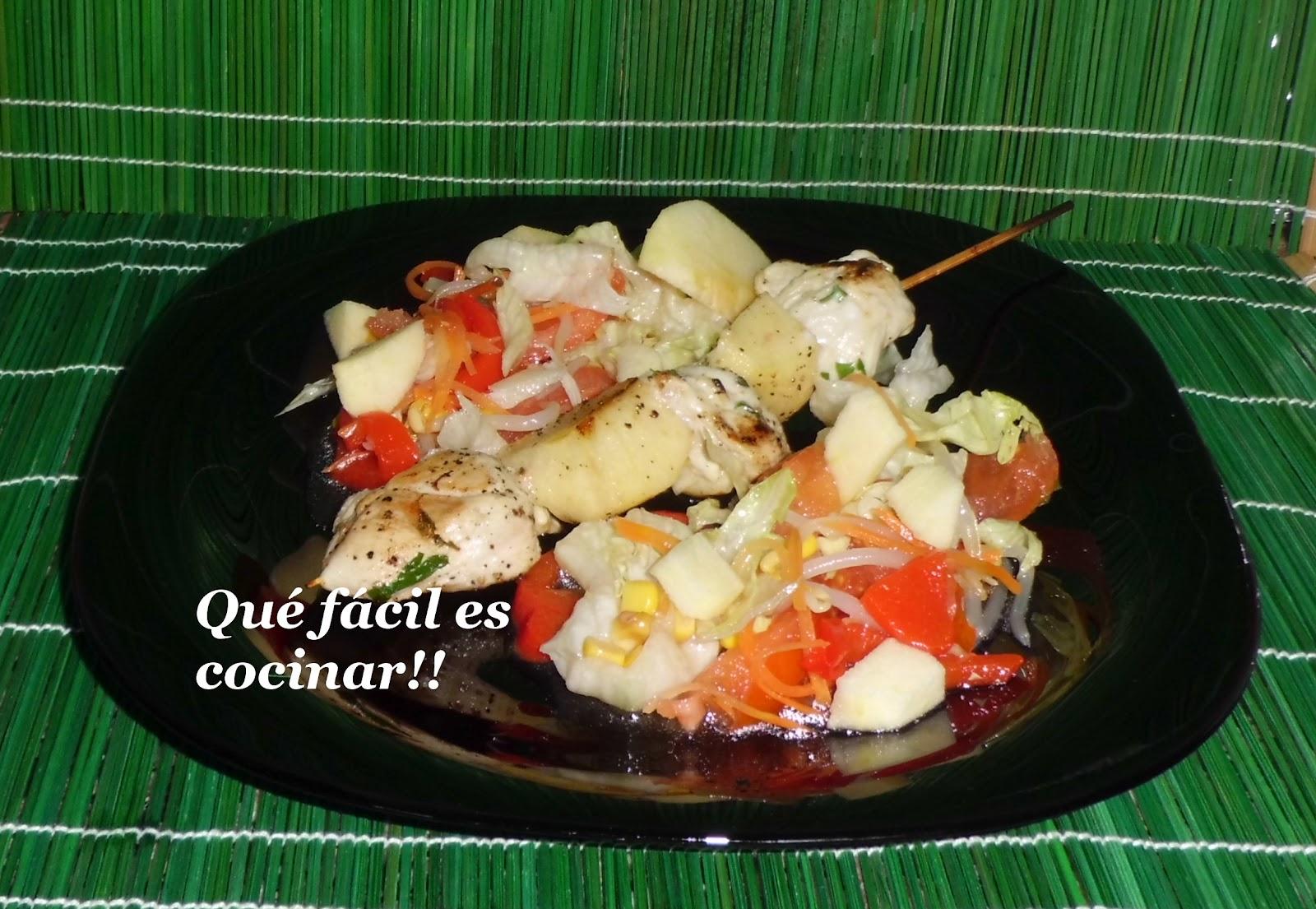 Perezosos a cocinar brocheta de pollo con manzana a la for Cocinar con 5 ingredientes