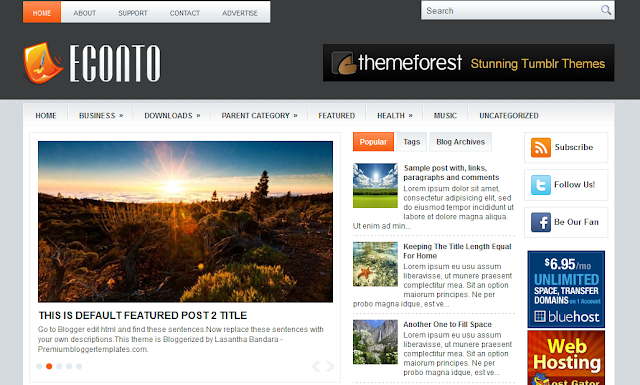 Econto Three Column Magazine Blogger Template