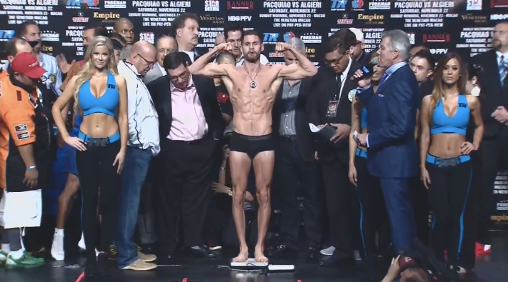 Chris Algieri in boxers while weighed in