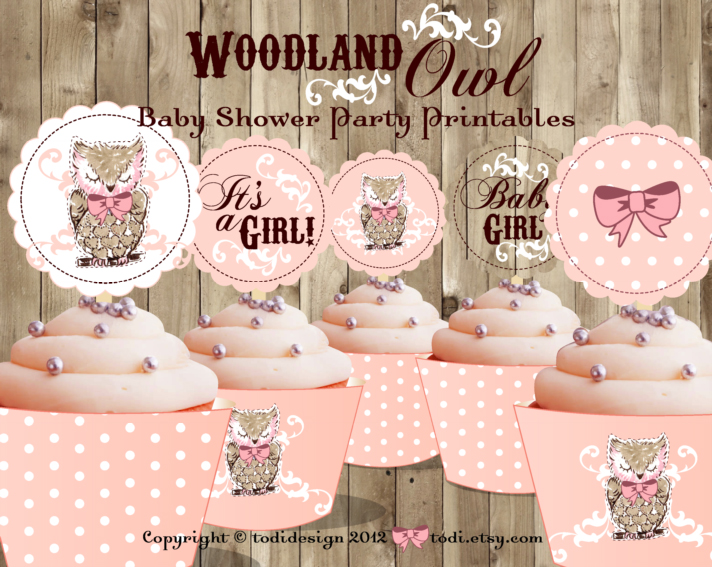 Todi woodland owl baby shower for Baby shower decoration templates