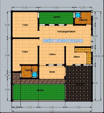 Contoh Denah Rumah Untuk Luas Tanah  M Desain Rumah Sederhana Interior Minimalis Rumah