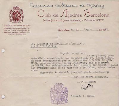 Carta a Ribera comunicando su selección para el match entre las selecciones de Barcelona y París, 1951