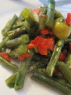 شلادة اللّوبية/Moroccan Cold Green Beans (String Beans) Salad or Moroccan Flag Salad/ Salade d&#39;Haric