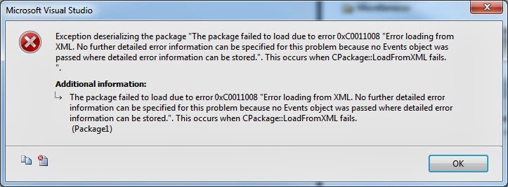 The package failed to load due to error 0xC0011008 'Error loading from XML. No further detailed error information can be specified for this problem because no Events object was passed where detailed error information can be stored.'. This occurs when CPackage::LoadFromXML fails.