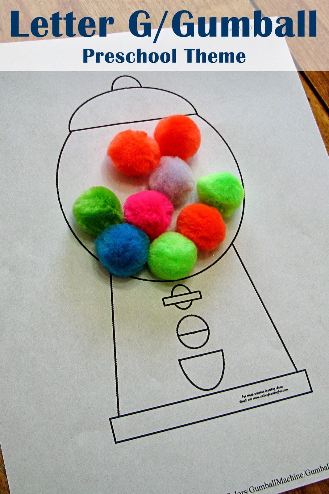 mommy u0026 39 s little helper  letter g  gumball preschool theme