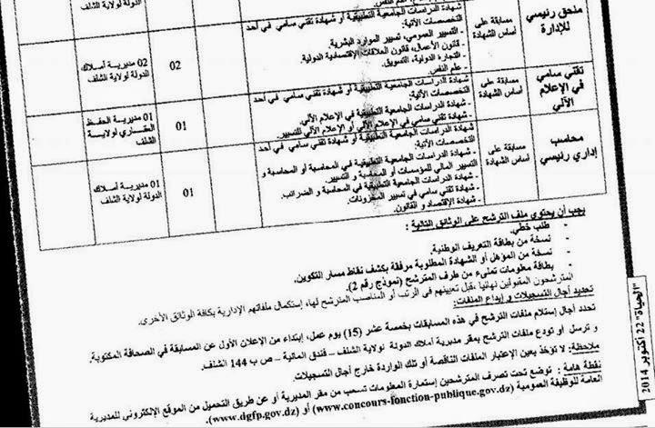 اعلان توظيف و عمل مديرية أملاك الدولة الشلف أكتوبر 2014