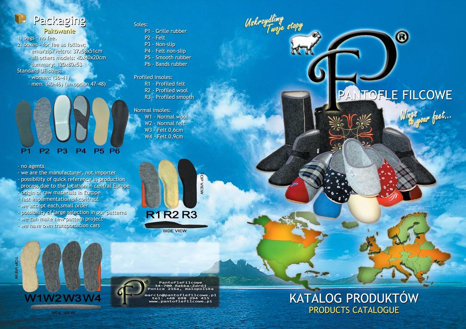 Filcowe pantofle - katalog