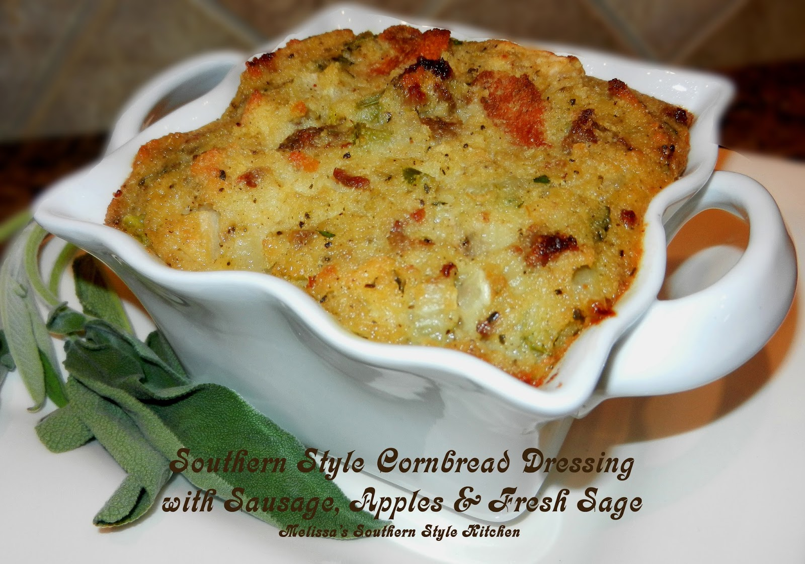 Southern Style Cornbread Dressing with Sausage, Apples & Fresh Sage
