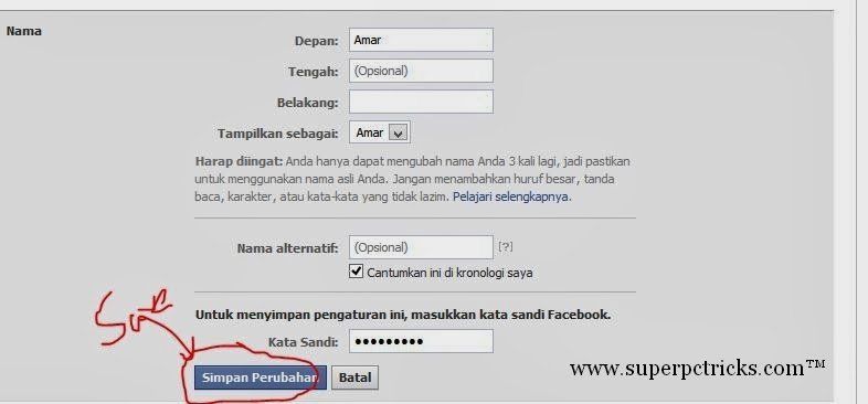 how to change surname on facebook