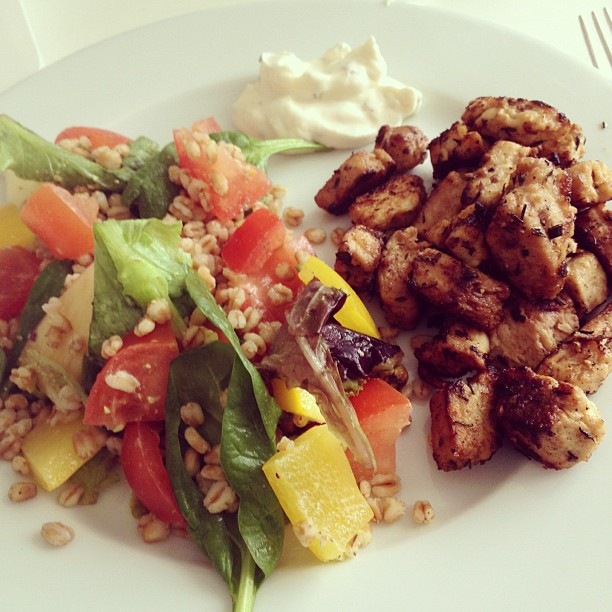 vegetarian lunch: quorn and salad
