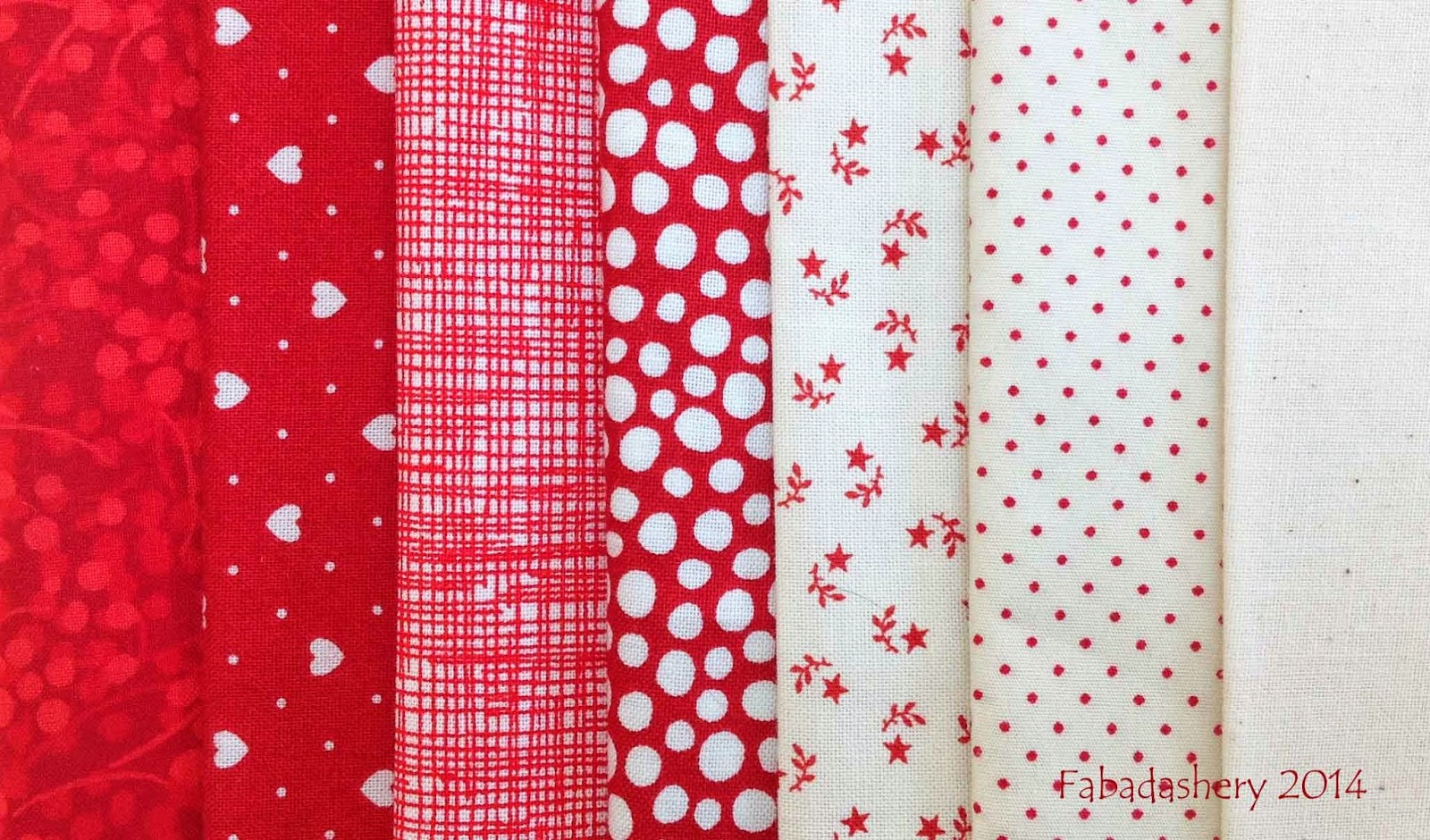 Red and white patchwork fabrics - Nearly Insane Quilt
