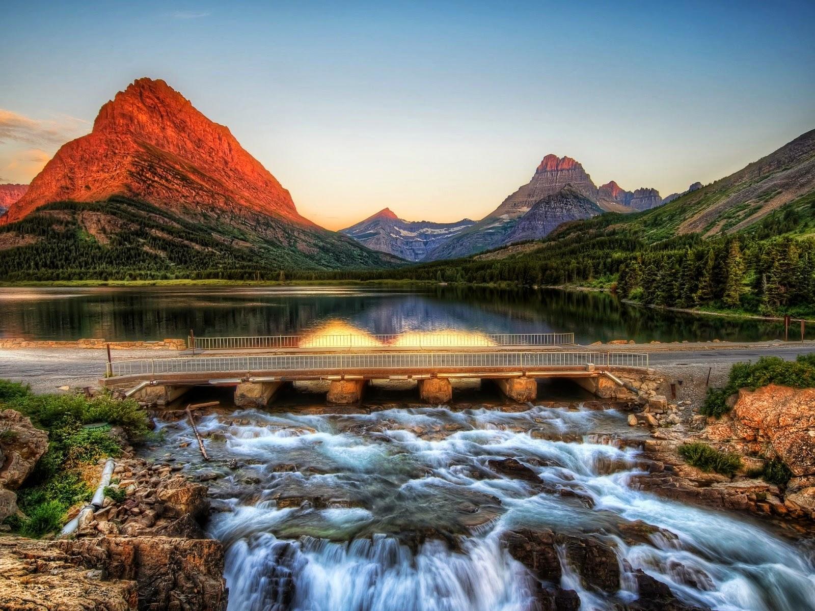 Montaña camino cascada piedras