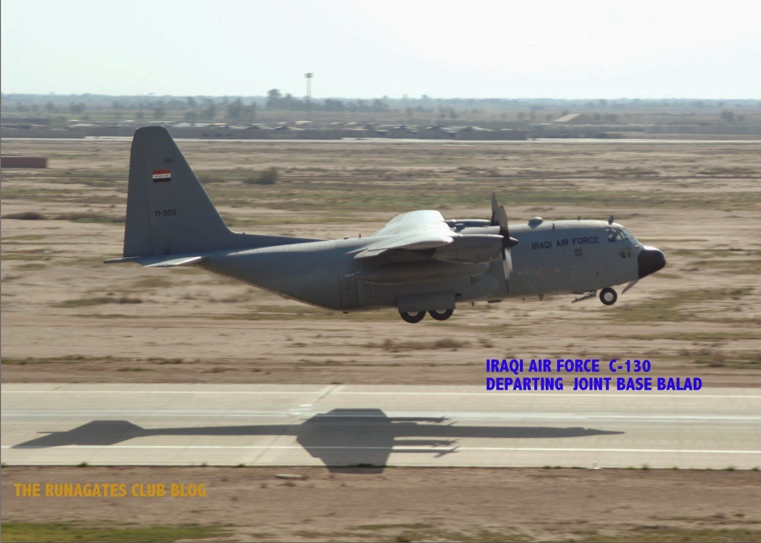 Iraqi Air Force C-130 transport photographed departing Joint Base Balad