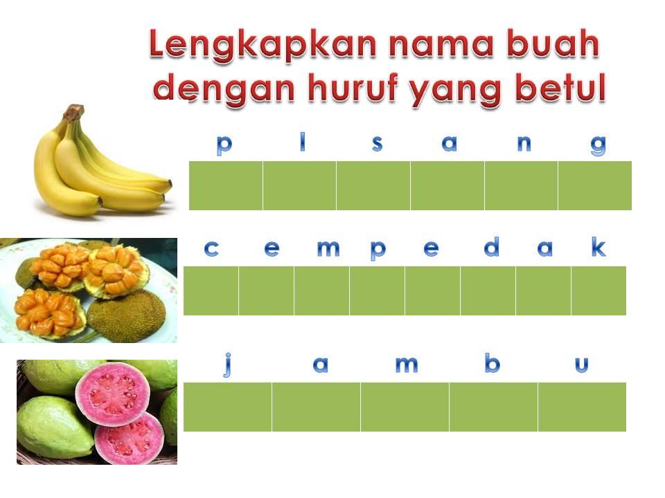 Aktiviti Pemulihan: Menyalin nama buah-buahan.