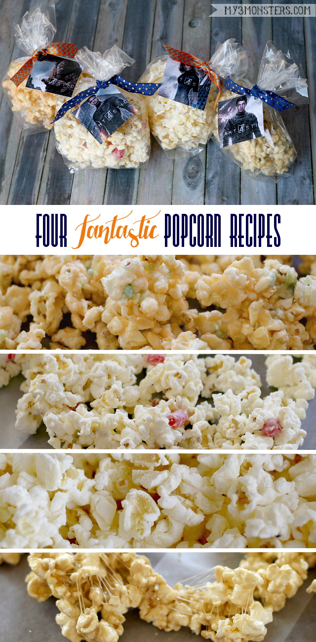 Delicious Fantastic Four inspired popcorn recipes from my3monsters.com