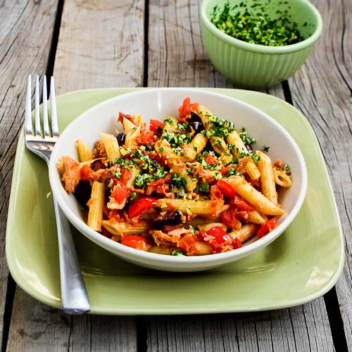 Quick and Easy Penne Pasta with Red Bell Peppers, Garlic, Capers, Olives, Tomatoes, and Tuna