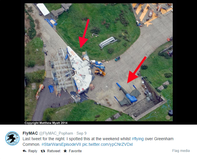 "Overhead photo of ""Star Wars: Episode VII"" Millennium Falcon"