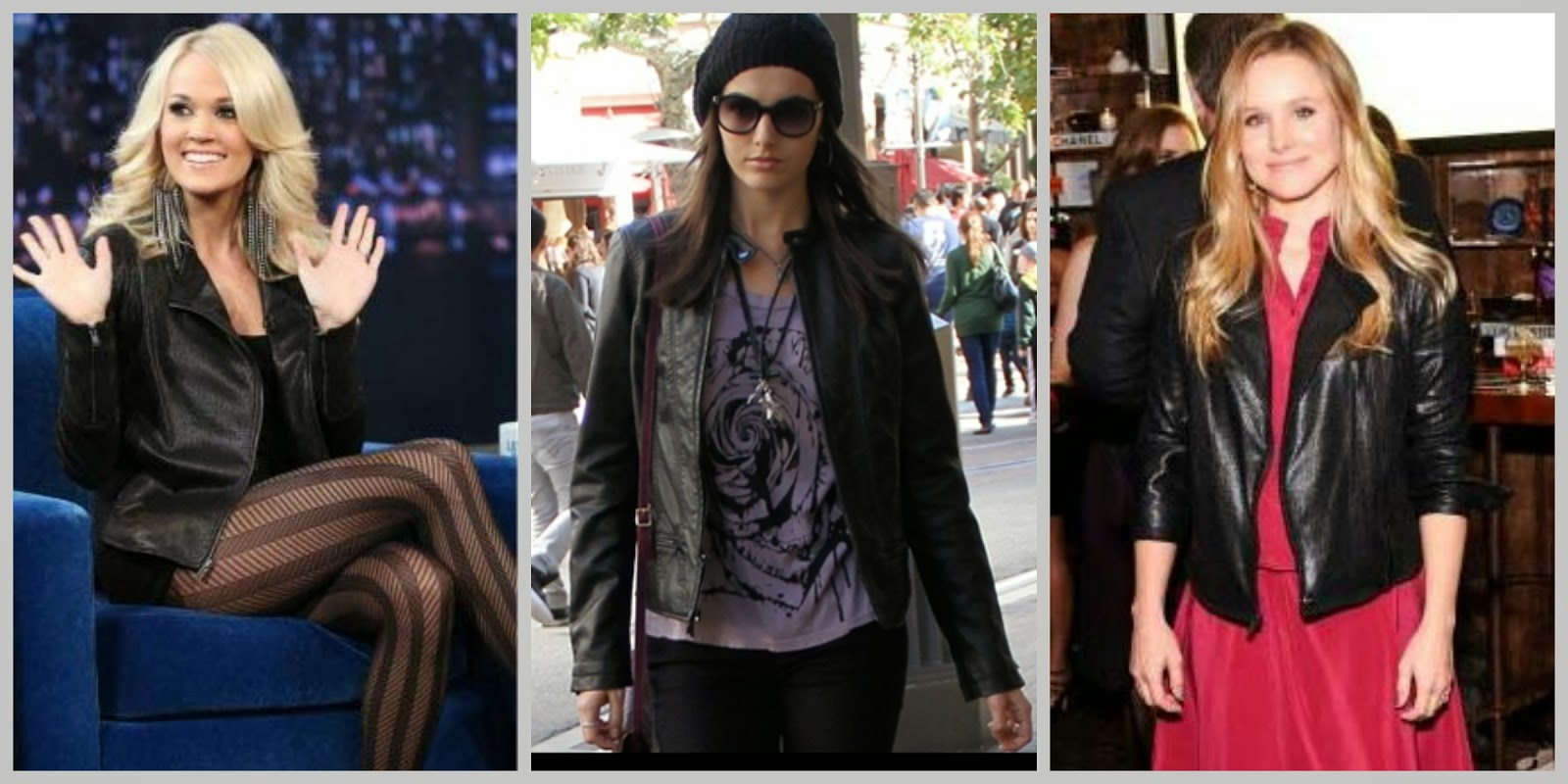 Express (minus the) leather moto jacket, celebrities, carrie underwood, camilla belle, kristen bell