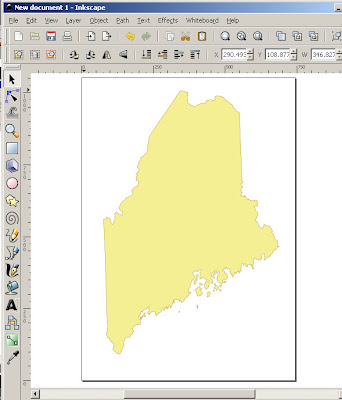 Maine map silhouette notecard
