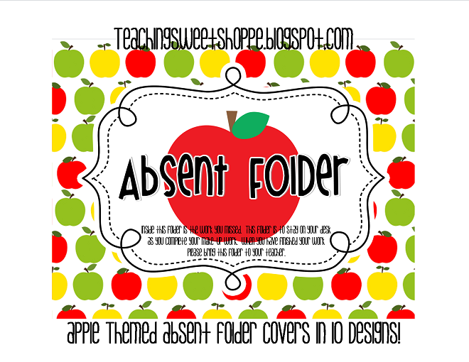 the teaching sweet shoppe apple themed absent folder covers