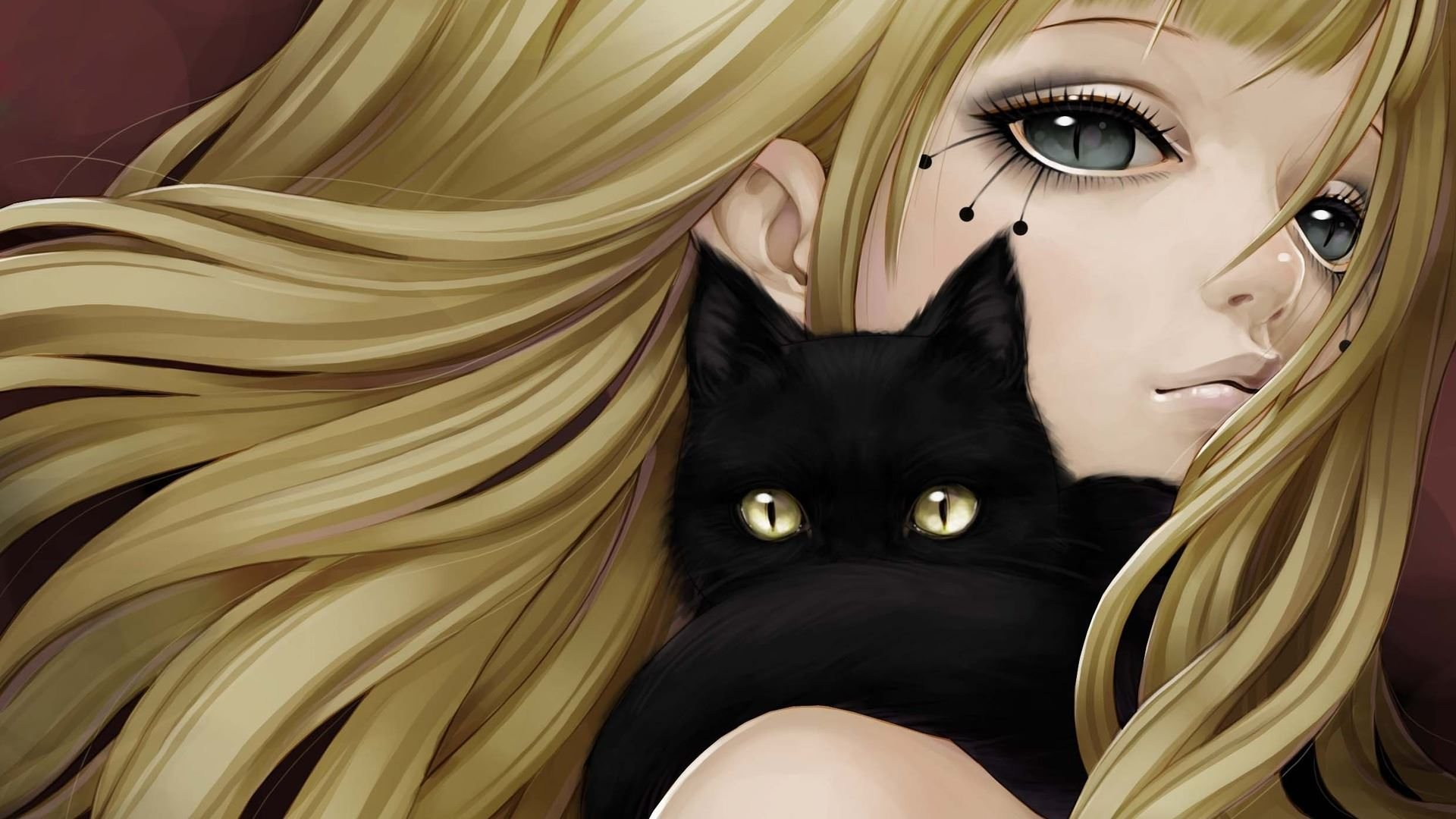 Anime girl and black cat high definition wallpapers hd - Anime cat wallpaper ...