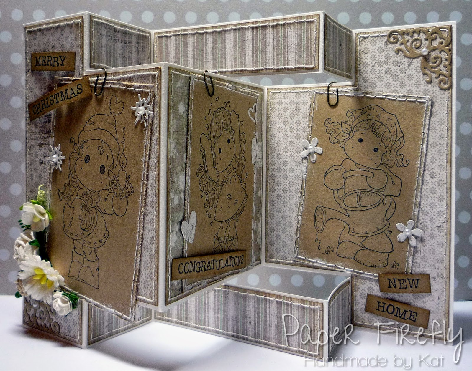 Tri-fold shutter card featuring 3 Tilda images from Magnolia stamps
