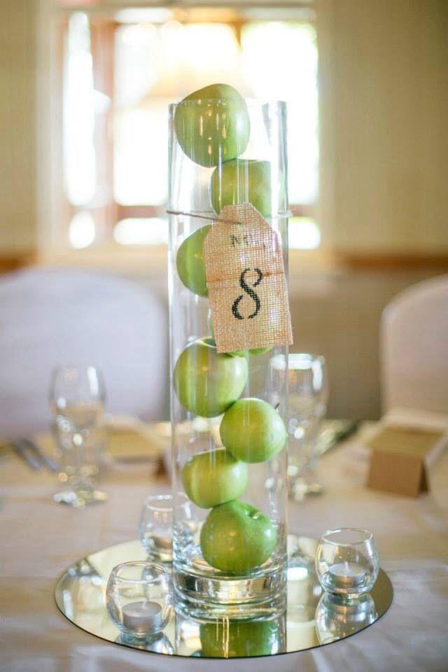 dekoracja stołu zielone jabłka