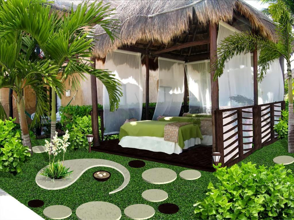 Dise o de jardines peque os palapa de masage y spa hotel for Modelos de jardines sencillos