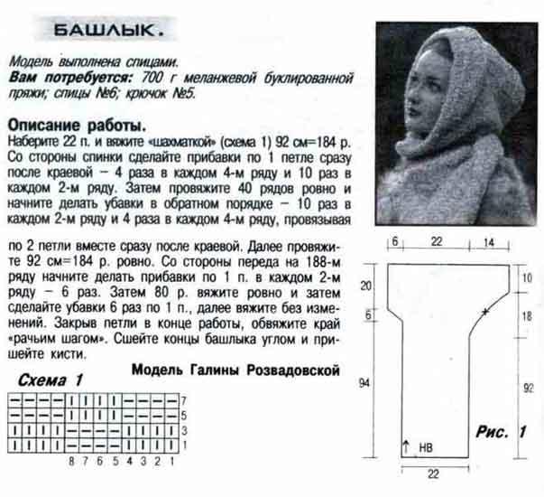 Вязание спицами для женщин шарф с капюшоном