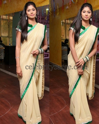 Mansi Cream Georgette Saree