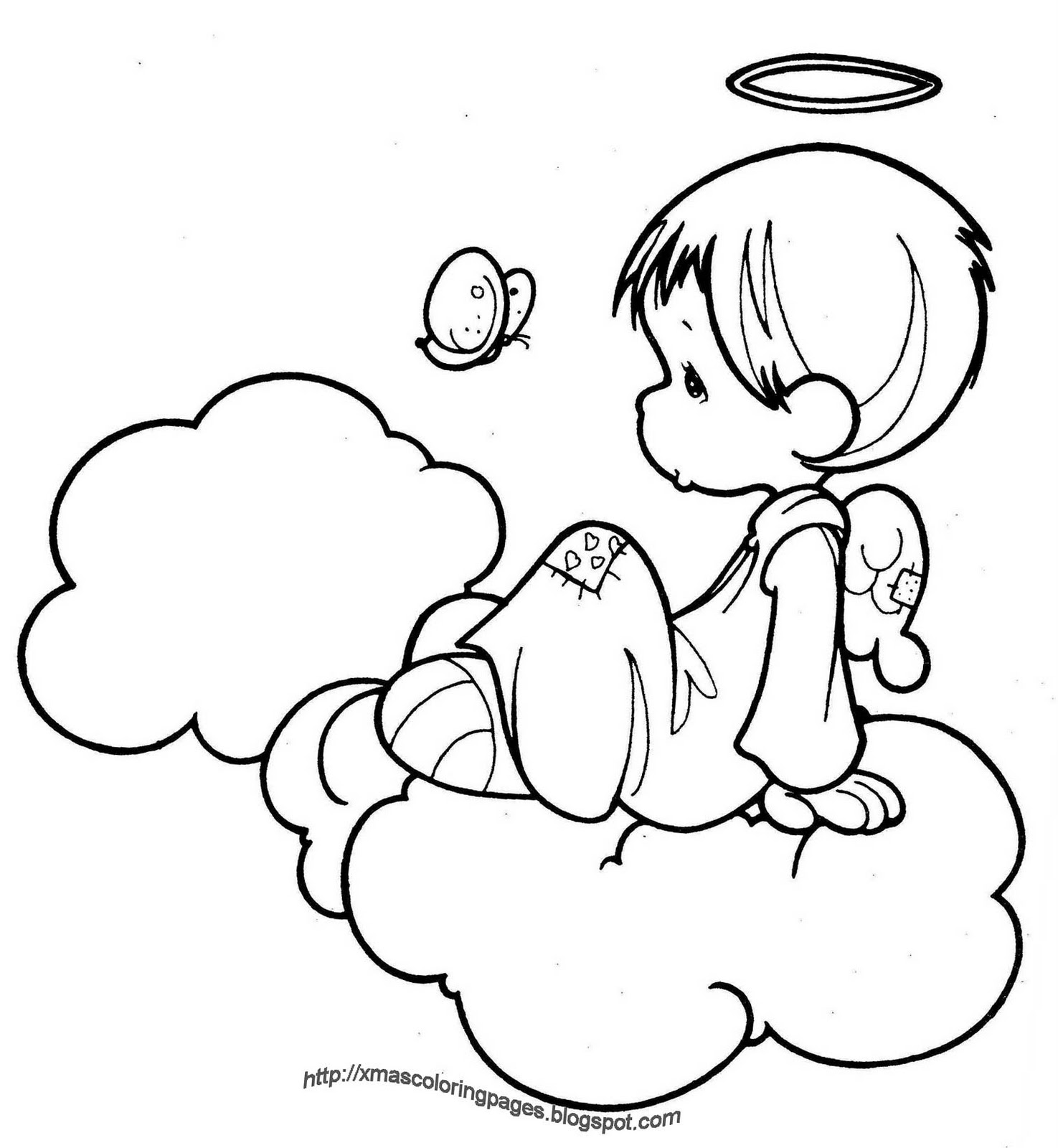 Xmas coloring pages for Angel coloring book pages
