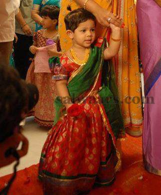 Baby in Red and Green Half Sari