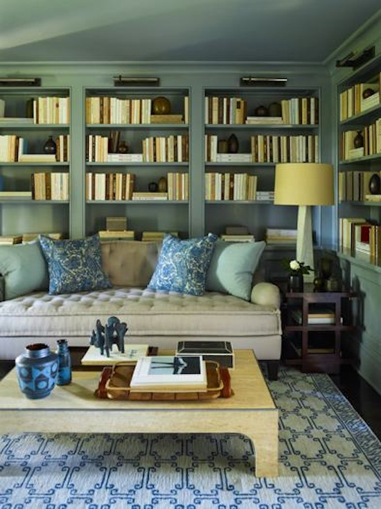 Summerland homes gardens a blue library for Living room c o maidstone