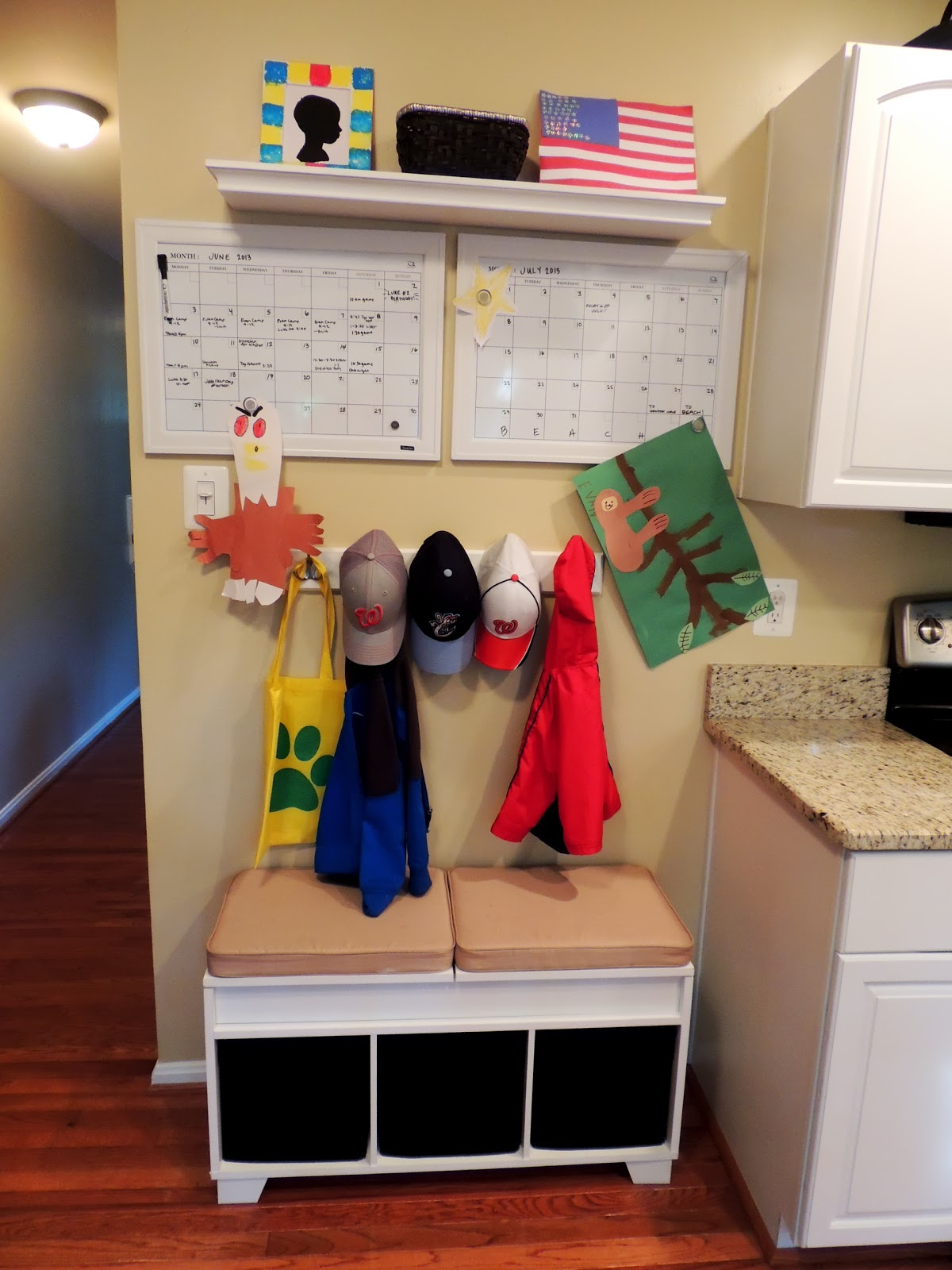 H family happenings our kitchen drop zone command center for Kitchen drop zone ideas