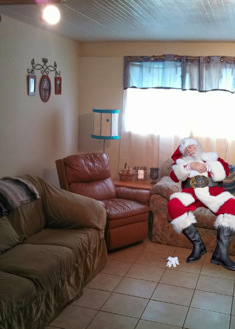Santa napping on couch