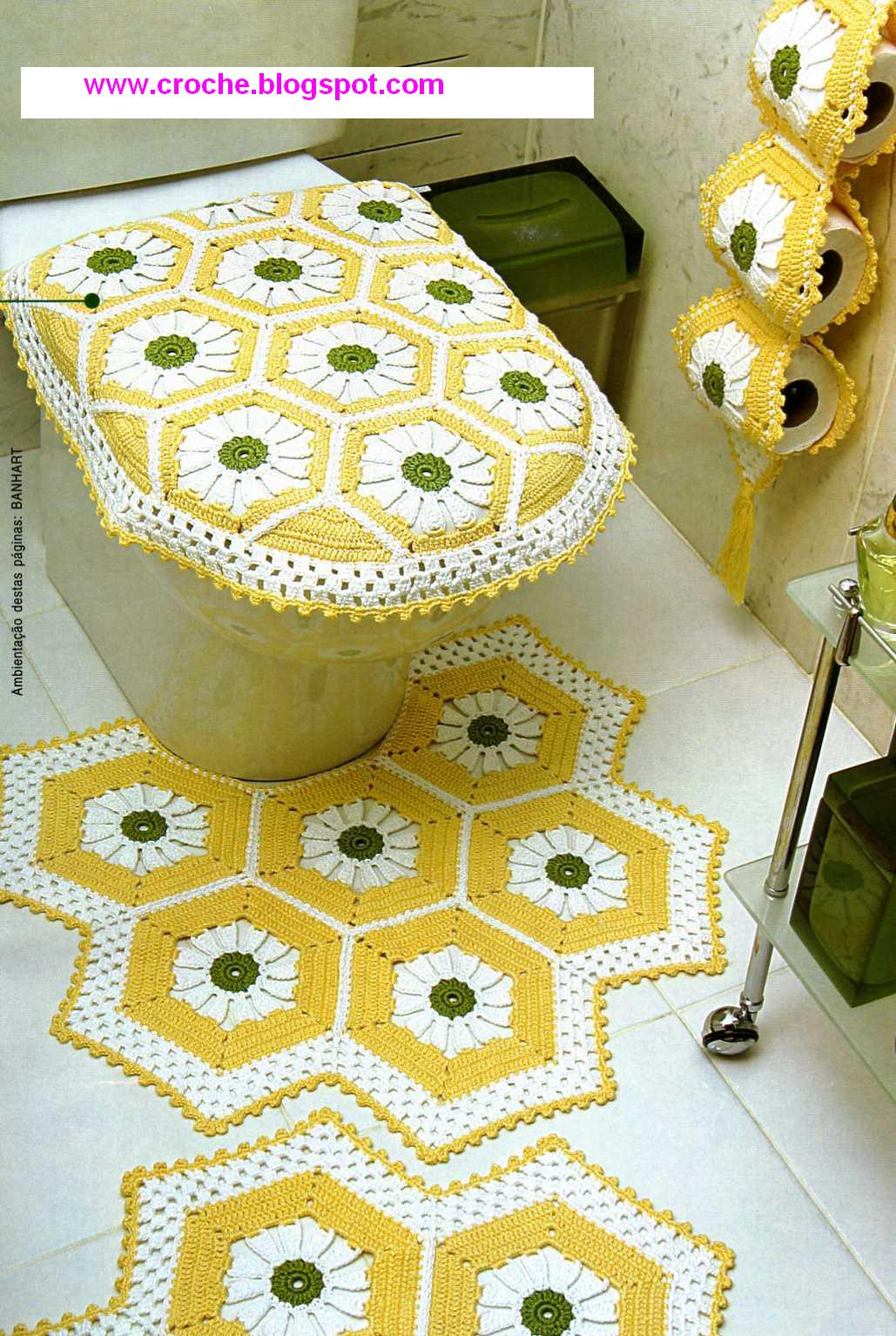 Croché tricô e outras artes.: Jogo de banheiro amarelo #634810 1029x1534 Banheiro Amarelo Com Branco