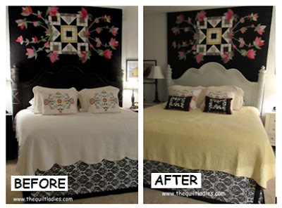 Before and After of a Black to Painted White Headboard