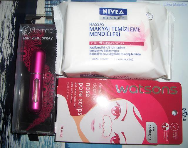 nivea makyaj temizleme mendilleri, flormar mini refill spray,parfüm atomizeri, watsons nose pore strips,watsons burun temizleme bantları