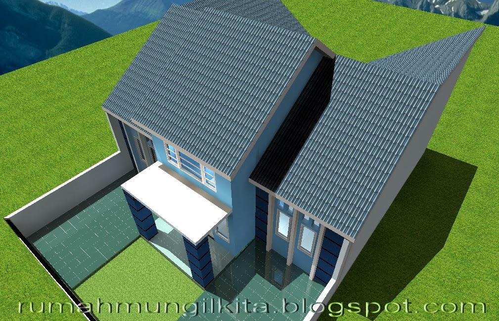 rumah mungil minimalis bernuansa biru tipe 70 4 kamar tidur tampak atas